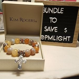 Kim Rogers New Faith Bracelet Orange and Silver
